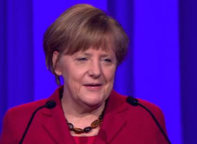 Angela Merkel addressing the EPP this afternoon