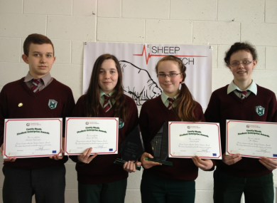 The four students behind Sheep Watch from left to right: Ricardas Cepanauskas, Emma McCabe, Edel Campbell and Zoe Maguire.