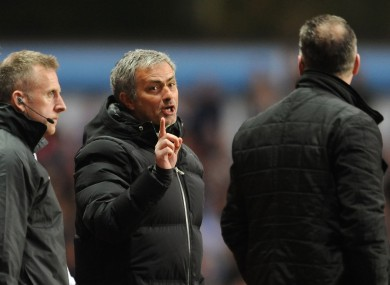 Jose Mourinho and Aston Villa manager Paul Lambert have a disagreement on the touchline during the Barclays Premier League match at Villa Park.
