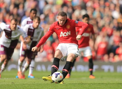 Wayne Rooney scores his second of the game.