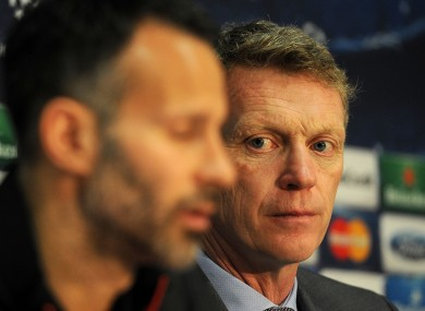 Manchester United manager David Moyes and Ryan Giggs at today's press conference at Old Trafford.