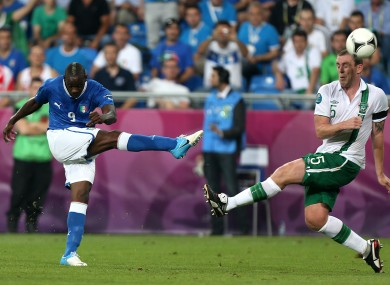 Mario Balotelli and Richard Dunne during Euro 2012.