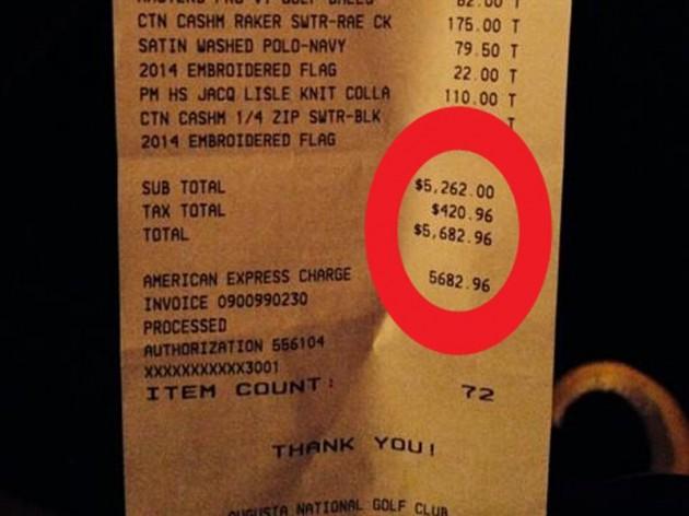 Golf receipt