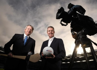 Ard Stiúrthóir of the GAA Páraic Duffy, left, and JD Buckley, Managing Director, Sky Ireland.