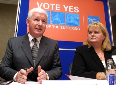 Frank Flannery and his successor at Rehab Angela Kerins (File photo)