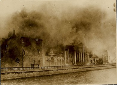 The Four Courts on fire after the devastating explosions in June 1922.