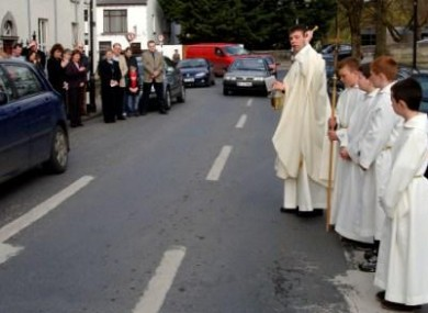 Fr. Michéal Mannion from the parish of Westport, Co. Mayo blesses the road to raise local awareness of road safety and the grief associated with loss of life and serious injury caused by road accidents.