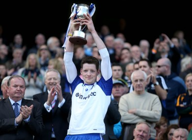 Conor McManus lifts the Division 2 trophy for Monaghan.
