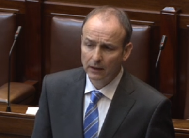 Micheál Martin speaking in the Dáil today.