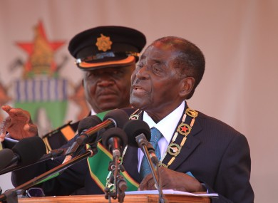 Robert Mugabe delivering his speech today