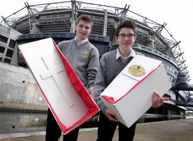 Conor McBride (16), left, and Shaun Sweeney (16) from St. Columbas, Stranorlar from County Donegal with their business idea for pet coffins.