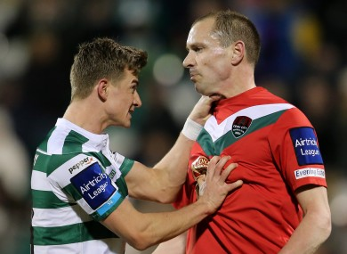 Shamrock Rovers' Ronan Finn and Colin Healy of Cork City last season.
