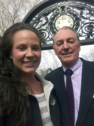Student Ali Luthman snaps a selfie with the university's president (but not at graduation)