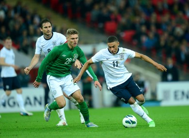 Ireland's Jeff Hendrick (left) and England's Alex Oxlade-Chamberlain (right) during last year's friendly at Wembley.