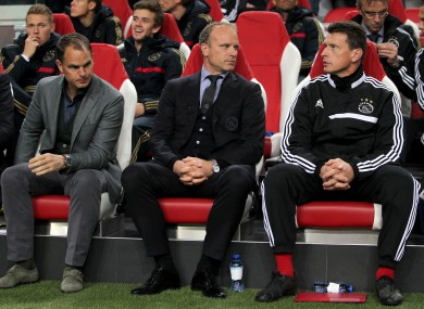 Ajax manager Frank de Boer (left), assistant manager Dennis Bergkamp (centre) and goalkeeping coach Carlo I'Ami.