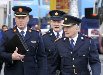 Assistant Garda Commissioner John Twomey, Superintendent Cornelius O Donohue and Garda Chief Superintendent Michael O' Sullivan arriving at Leinster House this morning.