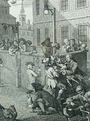 William Hogarth's First Stage of Cruelty shows schoolboys cock throwing.