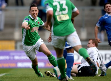 illy Dennehy celebrates scoring his side's second goal.