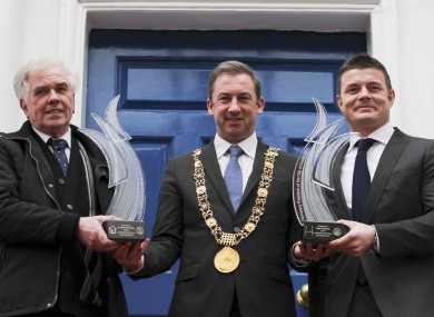 Lord Mayor of Dublin Oisin Quinn bestowing the Freedom of the City to Brian O'Driscoll and Fr Peter McVerry.