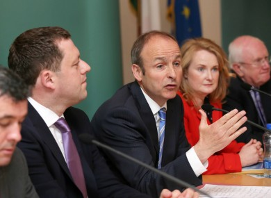 Members of Fianna Fáil, including party leader Michael Martin (centre)