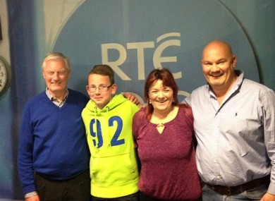 Charley (second from left) with his grandfather Finn with Brenda Donohue and his dad Andrew.