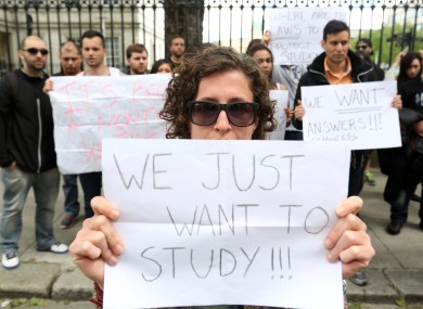 Eden College students protest the Department of Education earlier this week.