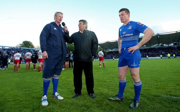 Leo Cullen and Brian O'Driscoll with Des Cahill