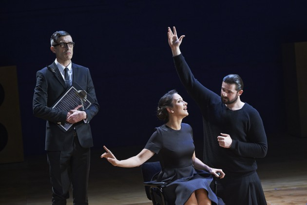 Mark O'Halloran with Natalie Radmall- Quirke and Ger Kelly in Abbey Theatre's new production of Twelfth Night by William Shakespeare.  Pic  Ros Kavanagh