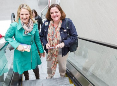 Gabrielle McFadden, right, campaigning with Fine Gael TD, Helen McEntee.
