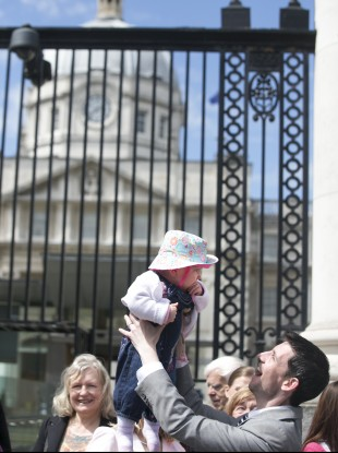 Peter Fitzpatrick with Orlagh,aged 10 months, outside Government Buildings during a Our Children's Health campaign held a protest outside Government buildings.