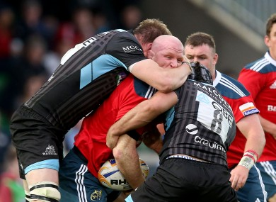 The Glasgow defence smothers Paul O'Connor during the Pro 12 semi-final at Scotstoun.