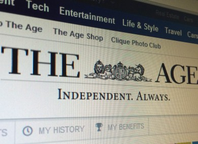 The homepage of The Age, where the offending headline appea