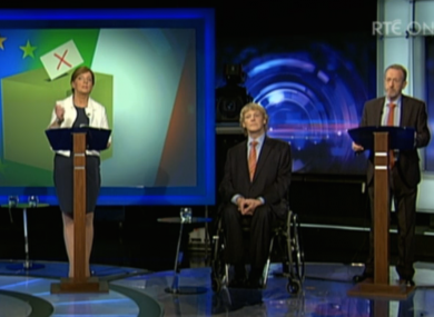 Some of the 15 candidates running in Ireland South during last night's debate.