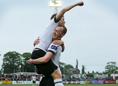 Dundalk goalscorer Sean Gannon is congratulated by teammate Chris Shields.