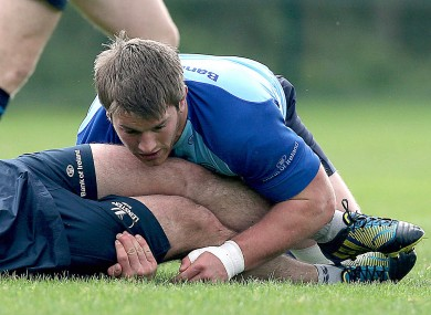 Sean O'Brien pictured in training with Leinster on Monday.