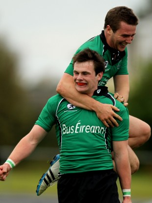 Jack Carty and Shane Layden playing together in the green of Connacht.