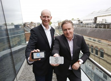 Magnus Ternsjö, CEO of UPC Ireland (left) and Robert Finnegan, CEO of Three Ireland announcing the deal.