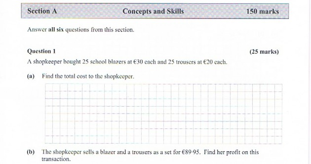 This question on the Ordinary Level Maths paper today was 'ridiculously simple'