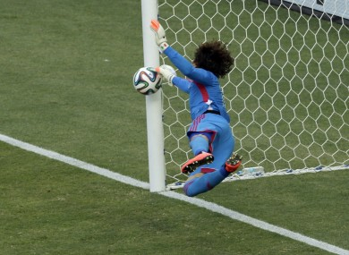 This save from Ochoa has been hailed as one of the best of the tournament so far.