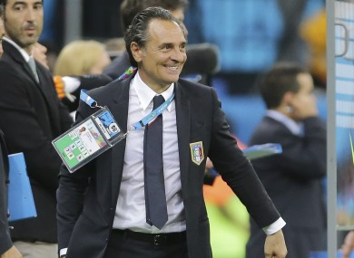 Cesare Prandelli smiles after the group D World Cup soccer match between England and Italy.