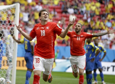 Admir Mehmedi (18) celebrates after scoring his side's first goal.