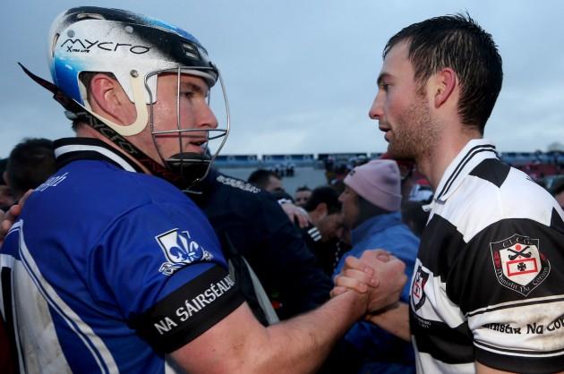 Cian McCarthy congratulates Luke OÕFarrell