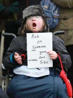 Jay Jay Kane from Dublin protesting against cuts to the Respite Care Grant outside Leinster House