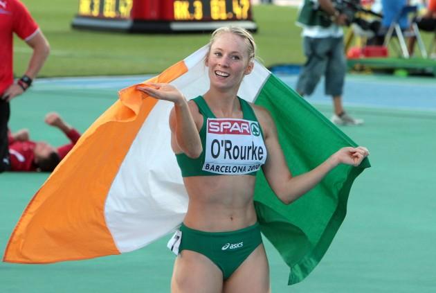 Derval O'Rourke celebrates winning a silver medal