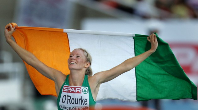 Derval O'Rourke celebrates winning a silver