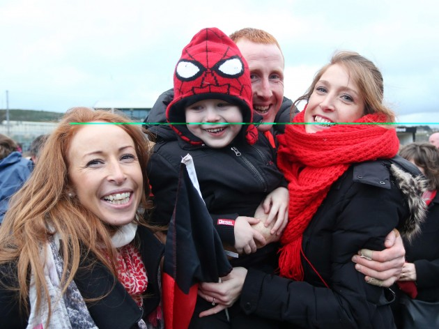 Eward Coady celebrates with his son Darragh and sisters Marie and Anne