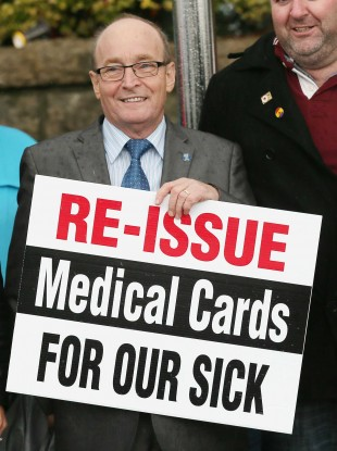 Ray McHugh, who works at Crumlin Children's Hospital, at a medical card cutback protest.