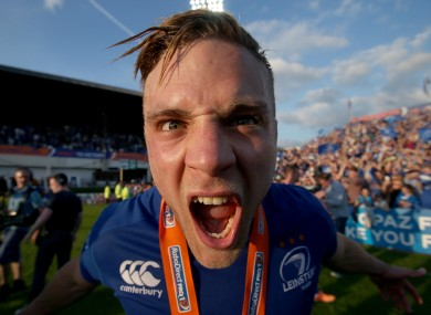 Ian Madigan celebrates Leinster's league win.