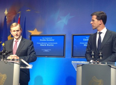 Enda Kenny and his Dutch counterpart Mark Rutte at Government Buildings this evening
