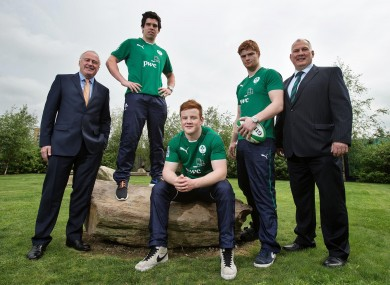 Ronan Murphy, PwC senior partner, Alex Wootton, Peadar Timmins, Sean O'Brien [injured] and head coach Mike Ruddock.
